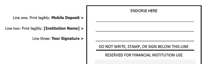 "An example of how to Endorse a Mobile Check Deposit. First line print ""Mobile Deposit"", second line print ""Institution Name"" and third line your signature."