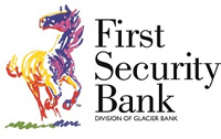 First Security Bank multi-colored horse - Division of Glacier Bank logo