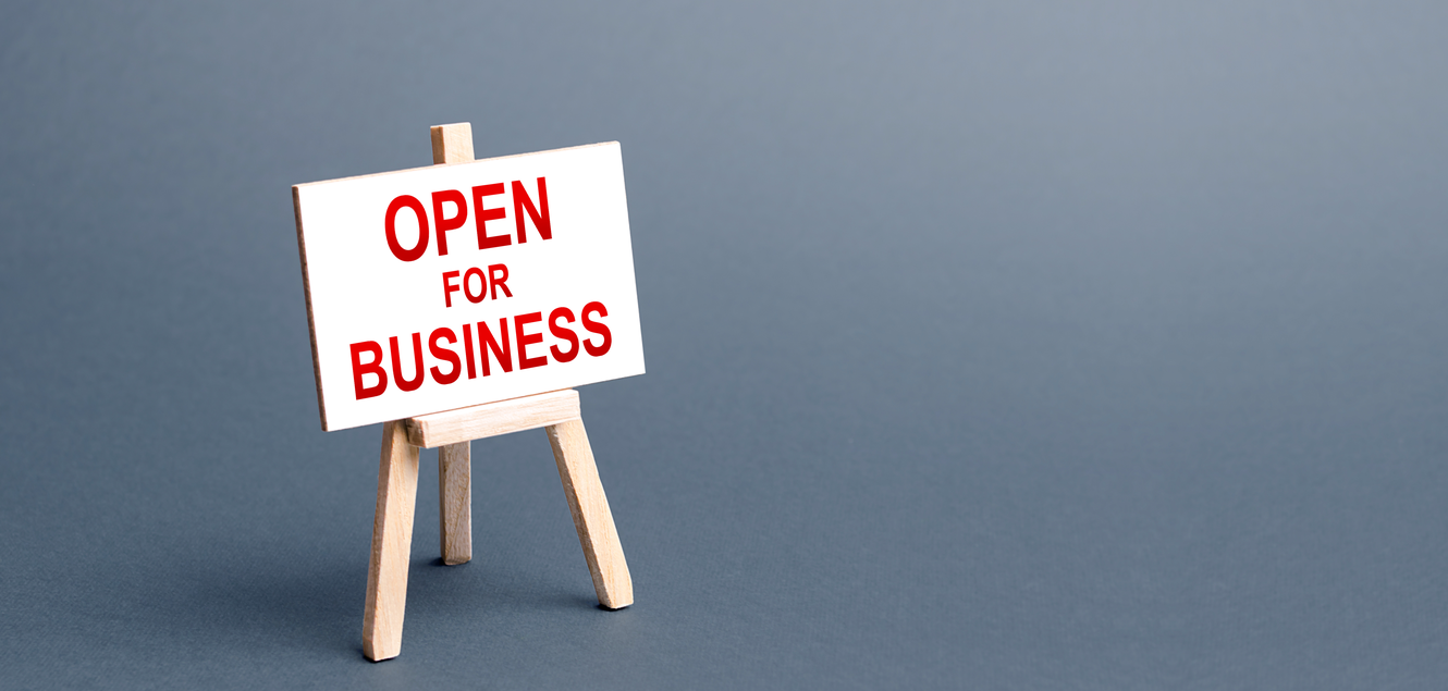 open for business sign of grey background